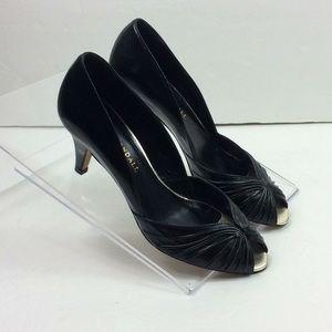 Loeffler Randall Pumps 7 B Black leather Peep Toe